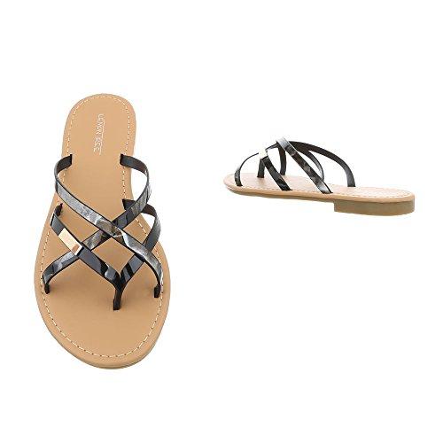Plano Sandalias Dedo Ital de 12 Para Zapatos Vestir Sandalias Mujer Design Negro de Pm907 H8q0vw8gx
