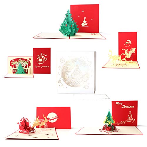 Paper Spiritz Pop Up Christmas Cards Pack of 6 - Handmade Happy New Year Spring Festival Cards - Laser Cut Winter Season Holiday Greeting Cards with Envelope