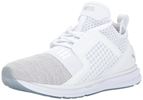 PUMA Men's Ignite Limitless Knit Sneaker, White Silver,8 M US