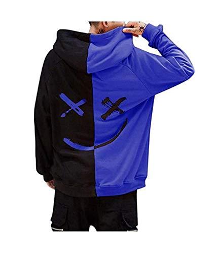 Hoodies Blouse Pull Smile Tops Casual À Mode Homme Sweat Basique Manches Kangourou Sportif Poche Capuche Imprime Bleu Longues Face w0Sngpq