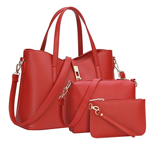 YipGrace Donne Moda Semplice Stile Grande Capacità Tote Borsetta Borsa A Tracolla Valigetta Rossa