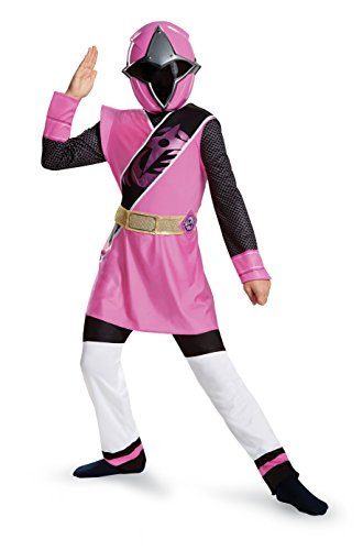 Girls Pink Ninja Costumes (Power Rangers Ninja Steel Deluxe Costume, Pink, Medium (7-8))