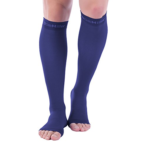 Doc Miller Premium Open Toe Compression Socks 1 Pair 30-40 mmHg Medical Grade Support Graduated Pressure Recovery Circulation Varicose Veins Venous Insufficiency (Dark Blue, Open Toe, Large Tall)