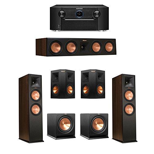 Klipsch-52-Walnut-System-with-2-RP-280F-Tower-Speakers-1-RP-450C-Center-Speaker-2-Klipsch-RP-250S-Ebony-Surround-Speakers-2-Klipsch-R-112SW-Subwoofer-1-Marantz-SR7011-AV-Receiver