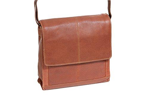 Sac facteur LEAS-Buffalo, cuir véritable, dark cognac - ''LEAS Classic Bags''