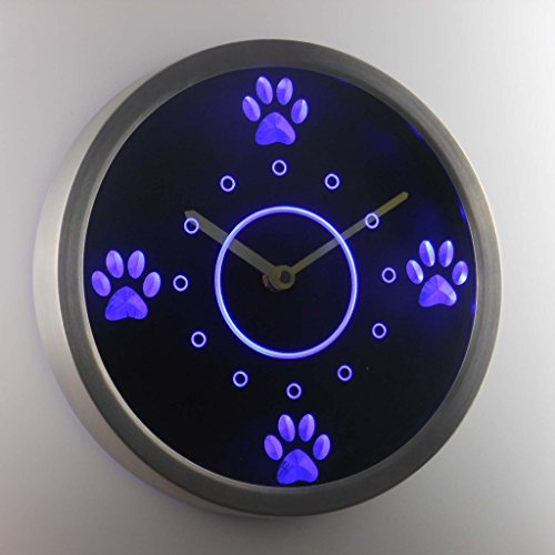 Cute Dog Paws Pet Grooming Neon Sign LED Wall Clock