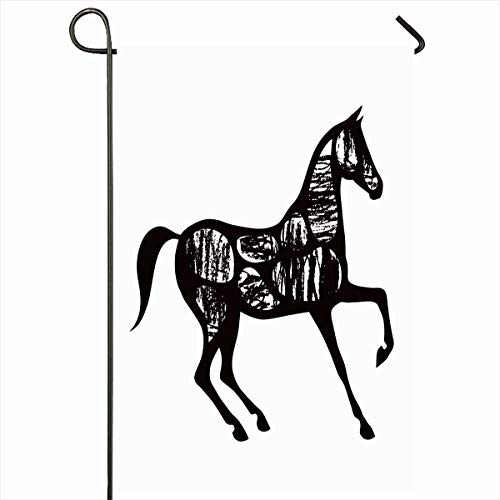 (Ahawoso Outdoor Garden Flag 12x18 Inches Motion Arabian Black Horse Hand Drawing Equitation Istic Blot Champion Charcoal Design Mare Seasonal Double Sides House Yard Sign)