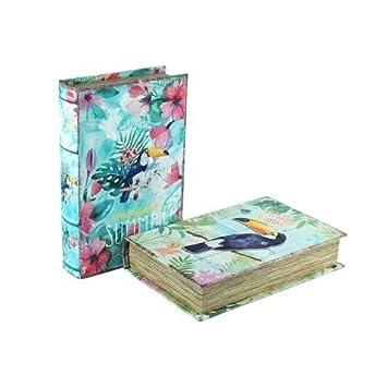 CAPRILO Set de 2 Cajas Libro Decorativas de Madera Tucán. Cajas Multiusos. Joyeros.