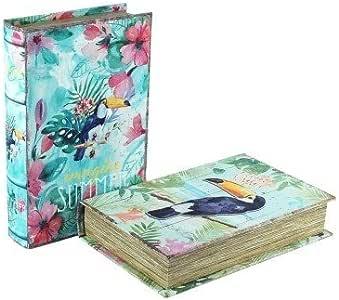 CAPRILO Set de 2 Cajas Libro Decorativas de Madera Tucán. Cajas ...