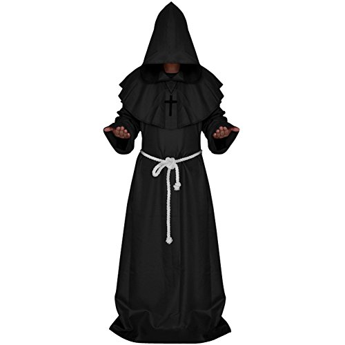 JudyBridal Medieval Monk Cloak Halloween Priest Robe Hooded Cosplay Wizard Costumes with Belt Cross Necklace S Black
