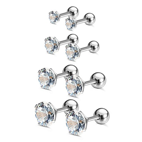 Charisma 3mm 4mm 5mm 6mm Stainless Steel Cubic Zirconia CZ Pave Crystal Cartilage Helix Tragus Barbell Stud Earrings Body Piercing ()