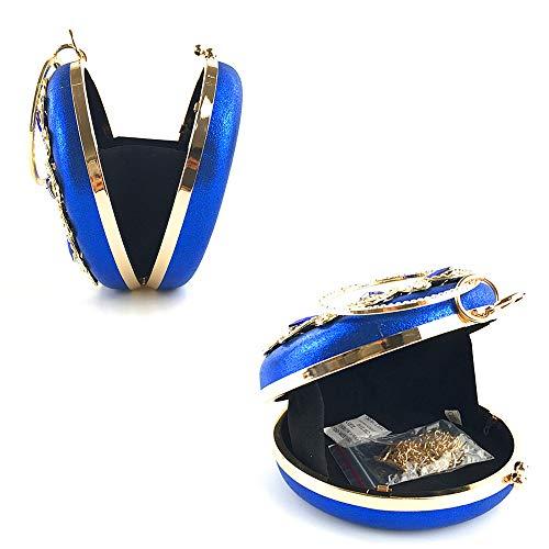 Da FFLLAS Di Di Diamante Tonda Black Pochette Da Sera A Gamma Viaggio Cristallo Forma Donna In Borsa Borsa Alta Lusso Blue Scintillante Da Di AqHr5xqT
