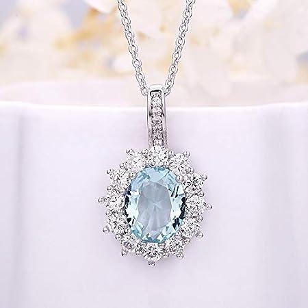 WOkismx 2020 Europea y circón Collar Azul Claro Diamante Estadounidense Damas Metal Chapado Completa Oval (con Cadena)