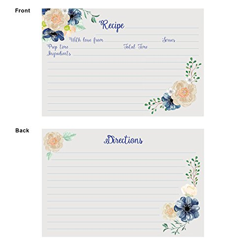 Recipe Cards (Set of 50) Floral Design - Size 4x6 Blank Cards, Double Sided, Great for Bridal Shower, Baby Shower, and Housewarming by One Lily Press (Image #2)