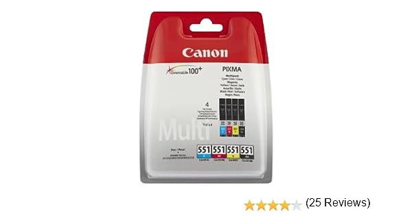 Canon CLI551 - 4 Cartuchos Multipack de tinta original Negro/Cian ...