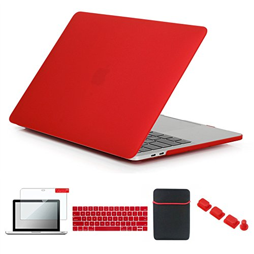 (Se7enline MacBook Pro with/Without Touch Bar Case Matte Plastic Hard Cover for MacBook Pro 13 inch 2016 2017 2018 A1706/A1708/A1989 with Sleeve Bag, Keyboard Cover, Screen Protector, Dust Plug, Red)