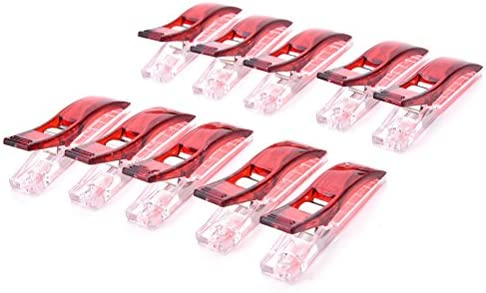 Clear/&Red Plastic Quilter Holding Wonder Clips Clamps Sewing Quilt Binding
