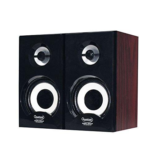 Quantum QHM636 Portable Laptop/Desktop USB Powered Multimedia Wooden Speaker with AUX Input  Black