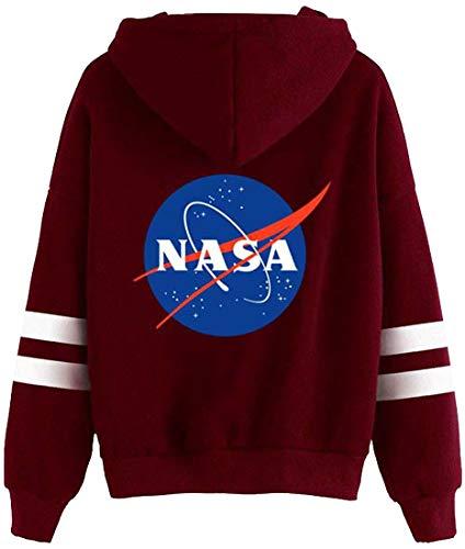 Nasa Space Logo À Manches Sweat Homme Classique Capuche Emilyle Insignia Longues Bordeaux Circle Pull I70SxEw