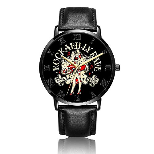 Whiterbunny Customized Rockabilly Girls Wrist Watch Unisex Analog Quartz Fashion Black Leather Bracelet Wristwatch for Women and Men