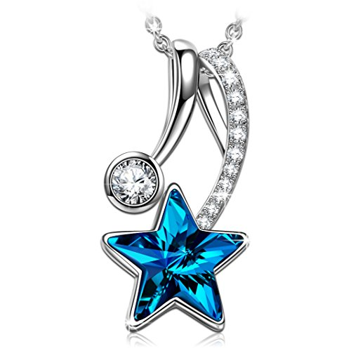Angel Star Necklace - ANGEL NINA Guardian Angel Hypoallergenic S925 Sterling Silver Zircon White Gold Plated Star Pendent Necklace, Crystals from Swarovski Anniversary Valentines Birthday Gifts Box for Girlfriend Wife