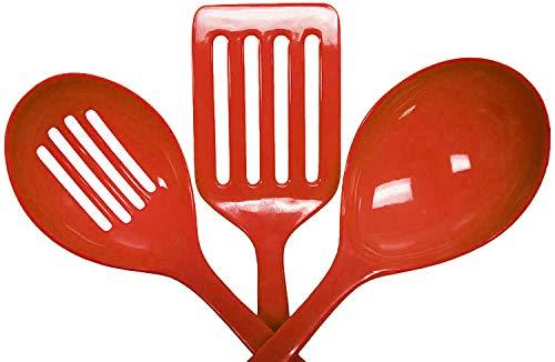 (3 Piece Melamine Kitchen Tool Set - Slotted Turner, Slotted Spoon, Basting Spoon (Dark Orange))