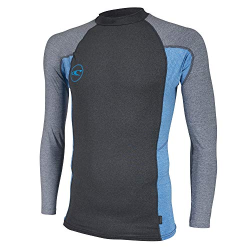 O'Neill Men's Basic Long Sleeve Premium Rash Guard, Black Brite Blue Cool Grey, 3X-Large by O'Neill