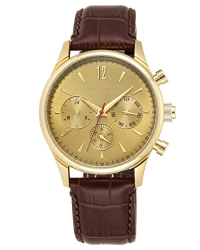 Croco Brown Grain (Vince Camuto Men's VC/1078GDGP The Chairman Multi-Function Dial Brown Croco-Grain Leather Strap Watch)