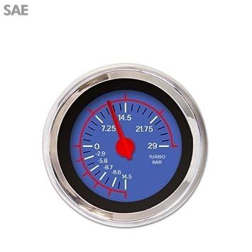Aurora instrumentos gar246ze por mabce Medidor de Turbo - SAE V por blue44; Rojo Moderno needles44; Anillos, adornos en cromo), estilo Kit DIY instalar: ...