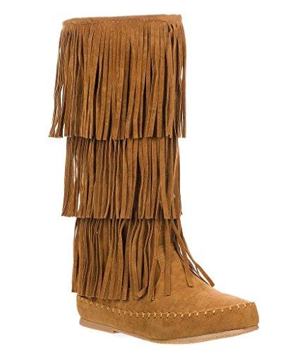 Pierre Dumas Womens Apache-4 Fringe Moccasin Boots Tan 8 ()