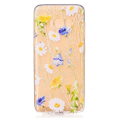 XiaoXiMi Funda Samsung Galaxy S8 Carcasa de Silicona Transparente con Patrón de Diseño Simple Soft Silicone Case Cover Funda Protectora Carcasa Blanda Claro Caso Flexible Suave Caja Delgado Ligero Cas Margarita Blanca y Flor Azul