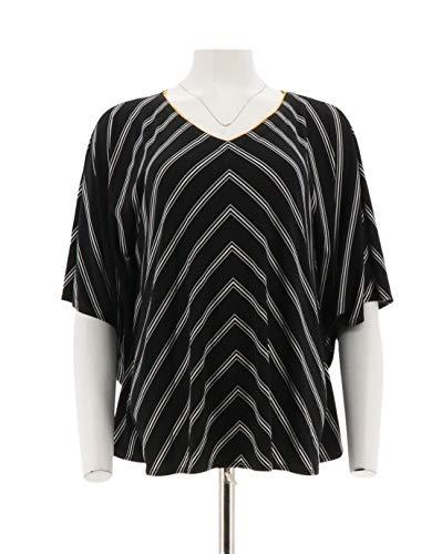 Susan Graver Striped Liquid Knit V-Neck Scarf Top Black L New A254451 from Susan Graver
