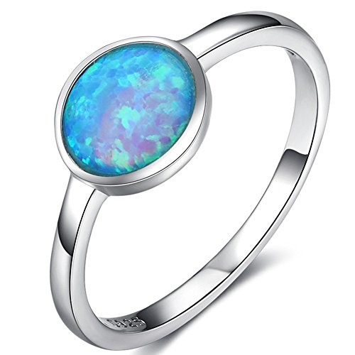 925 Sterling Silver Blue Fire Opal Wedding Engagement Solitaire Ring (Blue, 8) ()