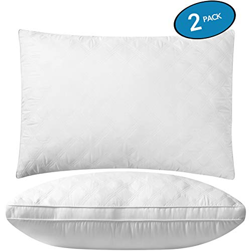 Premium Adjustable Loft Quilted Pillows (Set of 2) - Hypoallergenic Fluffy Pillow - Quality Plush Pillow - Down Alternative Pillow - Queen Pillow for Head Support - Pain Relief Pillow - 20