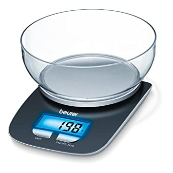 Beurer KS25 Kitchen Scales With Bowl And Illuminated Display