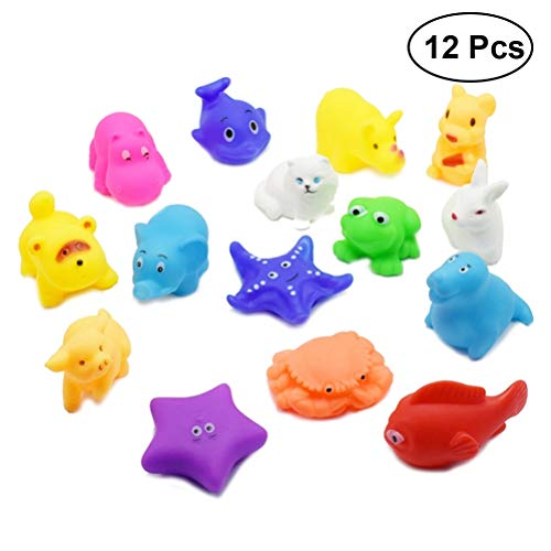 Toyvian 12Pcs Badespielzeug Bathrome Cartoon Amusing Lovely Animal Pattern Playing Toys for Kids Toddlers Baby