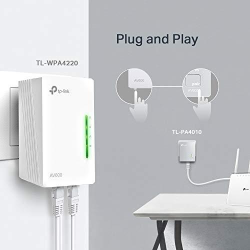 TP-Link TL-WPA4220 KIT - 2 Adaptadores de Comunicación por Línea Eléctrica (WiFi AV 600 Mbps, PLC con WiFi, Extensor, Repetidores...