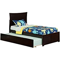 Metro Bed with Flat Panel Foot Board and Urban Trundle, Twin, Espresso