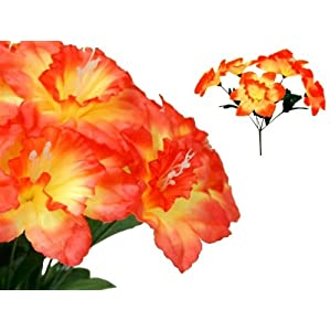 Tableclothsfactory 72 Artificial Daffodil Flowers for Wedding Arrangements - 12 Bushes - Orange 30