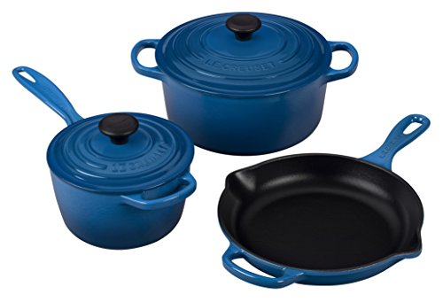 Le Creuset 5 Piece Signature Enameled Cast Iron Cookware Set, Marseille