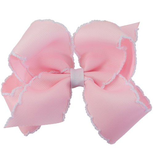 (Wee Ones Baby Girls' Medium Classic Grosgrain Moonstitch Hair Bow on a WeeStay Clip - Light Pink w/White Stitching)