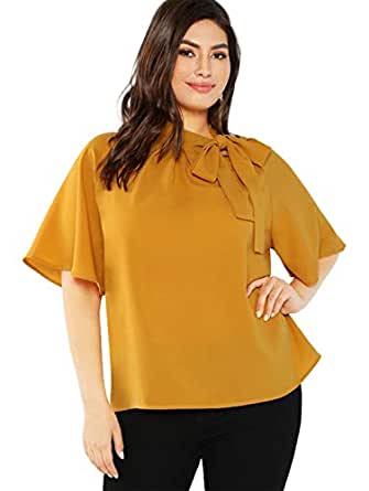 Romwe Women's Plus Size Short Sleeve Stand Collar Tied Neck Knot Blouse Top - - 0X