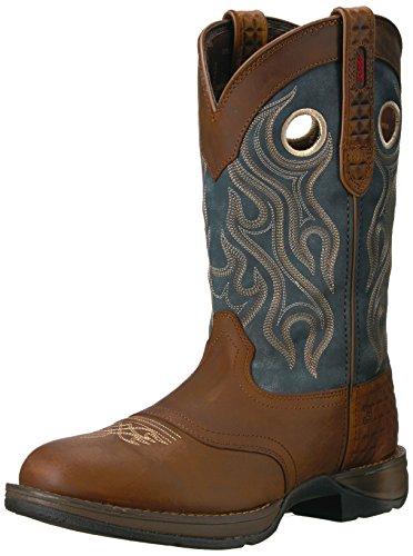 Durango Heren Ddb0127 Western Laars Bruin / Blauw Denim Van Jean