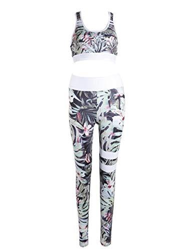 MACCHIASHINE Womens 2 PCS Pattern Print Sports Bra Pants Set Yoga Wear Set Racerback Bra and Leggings Tights(GR-M)