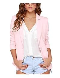 Summerwhisper Women's Slim Fit One Button Suit Blazer Pink