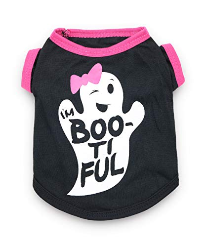 DroolingDog Dog Halloween Clothes Dog Tee Shirt Halloween Costume Pet T Shirt with Cute Ghost Pattern Dog Shirts for Small Dogs Girl, Medium