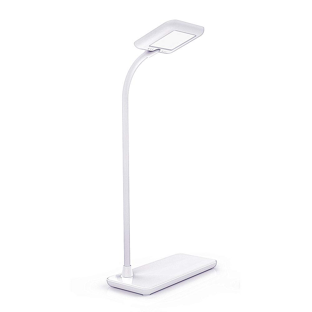 LED Gooseneck Desk Lamp 3 Levels Brightness Dimmable Reading Light Touch Control Folding Office Lamps USB Rechargeable Eye-Caring, White