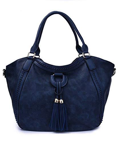Franja Eeayyygch Bolso Hobo Mujeres Tamaño Del De Gran Azul Hombro Negro Bolsos La Mensajero color Capacidad Crossbody Las 0wqA0p1r