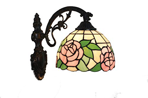 AiNan 8-Inch Tiffany Style Wall lamp,Retro Art Glass Shade Lighting,European Style Baroque Mirror lamp, Sconces for Balcony,Bedroom, Corridor