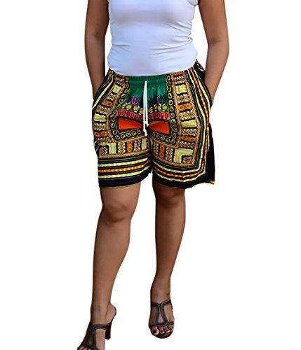 Laisla Fashion Donna Pantaloncini Estivi Eleganti Chic Mare Moda Etno-Style Stampati Floreale Larghi Shorts Casual Vacation Beach Bicchierini Arancione
